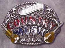 Pewter Belt Buckle Music I Love Country Music NEW