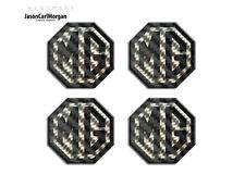 MG TF Alloy Wheel Centre Caps Badges Black Carbon Fibre & Silver 45mm Hub Badge