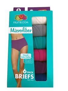 "Fruit Of The Loom Women's Briefs 6-Pack "" Microfiber & Tag Free "" 6DMFBRF  NEW!!"