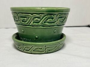 "Vintage McCoy 5"" Green Dot w Aztec Band Flower Pot w Attached Saucer"