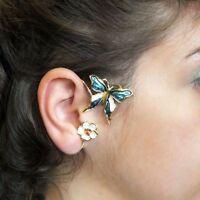 JoliKo Ohrklemme Ear cuff Schmetterling Blume Gold PL Emaille Hanky Panky RECHTS