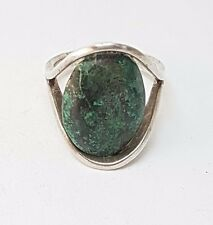 Very Nice Designer Modernist Vintage Silber 925 Ring Boho Grüner Stein / RG19