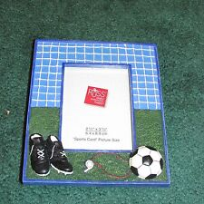 """NEW Russ """"Sports Page"""" 2.5 x 3.5 Handpainted SOCCER  Photo Frame RETIRED STYLE"""