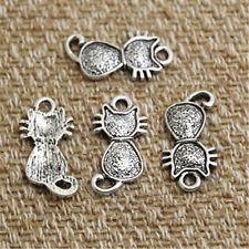 30pcs-cat Charms, Antique silver tone 2 Sided cute cat Charm Pendants 11x21mm
