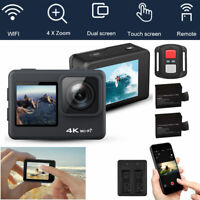 WIFI 4K Dual Screen 1080P Action Camera Sports Camcorder Remote + Extra Battery