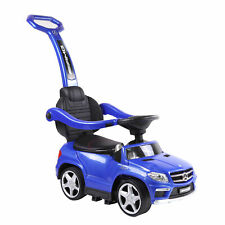 Best Ride On Cars Baby 4-in-1 Mercedes Push Car Stroller with LED Lights, Blue