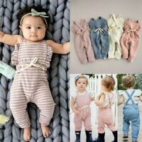 Newborn Baby Girl Boy Backless Striped Ruffle Romper Overalls Jumpsuit Clothes A