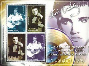 MODERN GEMS - Sierra Leone - Elvis Presley 70th Birthday - Sheet of 4 - MNH