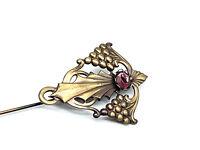 Vintage Antique Edwardian Grape Design Hat Pin Purple Oval Gemstone