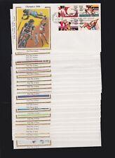 US Olympics 1984 FDC Colorano Silk Cachet Lot of 24