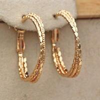 18K Gold Filled Earrings 3-Layer Big Circle Cross Carving Geometry Hoop Stud L8