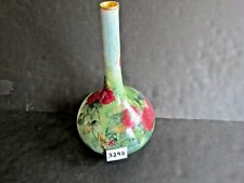 Large 12 1/2 inch Tall Limoges Vase Hand Painted Red Roses