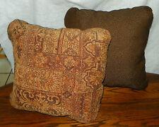 Pair of Brown Tan Abstract Print Throw Pillows  15 x 15