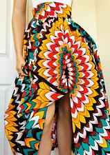 'VENESSA' African Print Zipper Front MID-CALF - Front-Slit Skirt Handmade UK