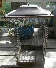 """Vintage Rusty Crusty Large Birdcage House Signed """"Bosch"""" To Hang Or Stand"""