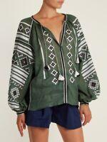 Ukrainian embroidered women's green blouse - folk ethnic vyshyvanka. All sizes