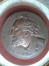 IMPOSANT MEDAILLON en BRONZE: PROFIL DE Léon GAMBETTA Ecole Française XIXe 35 cm
