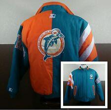 VTG Miami Dolphins NFL STARTER Big Logo Puffer Jacket Coat Zip Front Size L