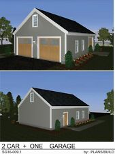 GARAGE PLANS BLUEPRINTS 28 FT  X  40 FT,  2  CAR + 1 CAR @ SIDE