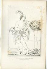 ANTIQUE KING DAVID AS A YOUTH HEAD OF GOLIATH SABRA SWORD BIBLICAL OLD ART PRINT