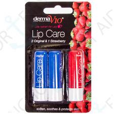 3Pc Flavoured Medicated Lip Balm Original/Strawberry Dry Lips/Skin Care