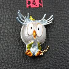 Betsey Johnson Brooch Pin Gift Women's White Enamel Cute Owl Charm