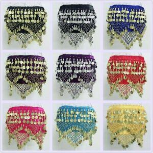 Belly Dance Costume Hip Scarf Tribal Triangle Hip Belt Skirt Velvet & Gold Coins