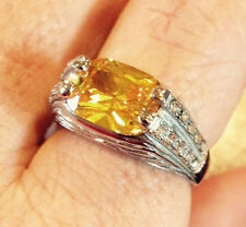 STUNNING 6.5 CT, YELLOW CUBIC ZIRCONIA &  AUSTRIAN CRYSTAL IN STAINLESS, SZ 8, 9