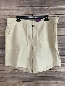 NWT Lane Bryant Linen Shorts Size 20 Beige Elastic Waist