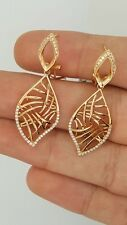 NEW 18K 750 PINK ROSE GOLD DIAMOND FILIGREE DESIGNER OMEGA BACK RUSSIAN EARRINGS