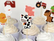 24 Pcs FARM ANIMALS CUPCAKE CAKE TOPPERS Party Supplies Lolly Loot Bags Decor