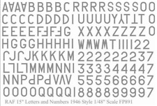 Raf Letras y Números 1946 Estilo Gris 38.1cm (1/48 Adhesivos, Fantasy Printshop