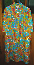 Vtg 1960s House Dress Mod Floral Print Button Front Lightweight Robe w/ Pockets