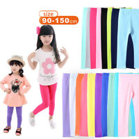 2-13Y Toddler Baby Girls Cotton Leggings Kids Candy Color Slim Trousers Pants