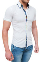 CAMICIA UOMO DIAMOND SLIM FIT ADERENTE BIANCA CASUAL MANICHE CORTE BUTTON DOWN