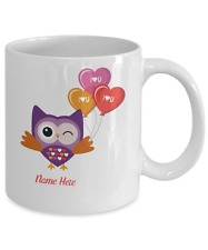 Personalized Owl with Baloons White Coffee Mug Anniversary Birthday Cup