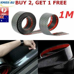 1M Car Door Sill Protector Strip Carbon Fiber Rubber Trim Bumper Sticker Edge