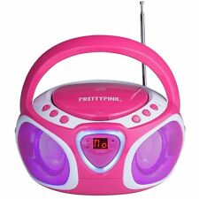 PRETTYPINK CD Radio Boombox with LED Light CBBL