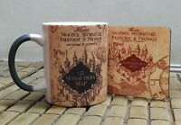 Harry Potter Marauders Map MAGIC COLOR CHANGING coffee mug tea cup with Coaster