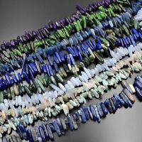 Natural Gemstones Freeform Stick Beads 7.5'' For Bracelet Necklace 3x12-7x25mm