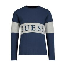 GUESS Jungen Langarmshirt L0YI27 K8HM0 blau T-Shirt mit Logo Print  NEU