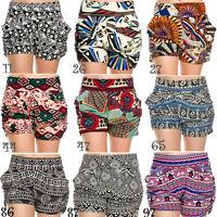 Yoain Print Harem Shorts Aztec Stretch Sexy Draped Pockets High Waist S/M L/XL