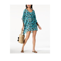 Miken Leaf Print V-Back Tassled Tunic Swim Cover Up Dress Sheer L New Teal
