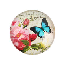 10 Butterfly 12mm Printed Half Round Domed Glass Cabochons (CAB1C4)