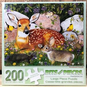 """NEW RARE Bits and Pieces """"Woodland Friends"""" 200pc Puzzle - Deer Rabbit Animals"""