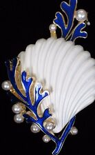 BLUE WHITE PEARL CORAL COCKLE CLAM SCALLOP SEASHELL SHELL PIN BROOCH JEWELRY