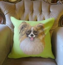 LIME GREEN PAPILLON TOY SPANIEL DOG TAPESTRY PILLOW CUSHION COVER ONLY