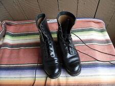 Men's Vintage 1960's 3-63 Vietnam Era Black Leather Combat Boots 10 R (f268)