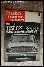 AMS Auto Motor Sport 9/63 Opel Rekord Glas 1204 Coupe + Cabriolet