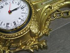 Horloge murale CYGNE EN OR AVEC THERMOMÈTRE 38x65cm BAROQUE ANTIQUE REPRO